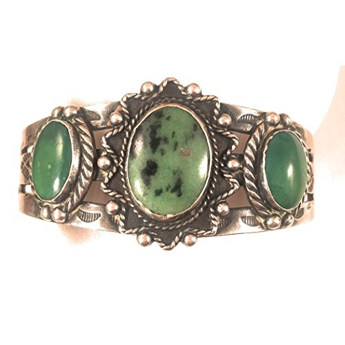 Nizhoni Traders LLC Vintage Turquoise Sterling Silver Navajo Cuff Bracelet
