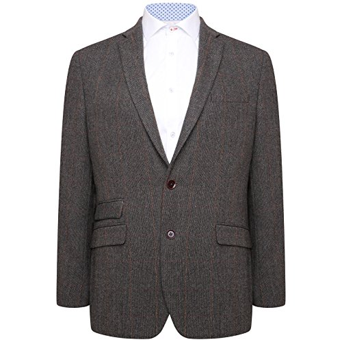 Harry Brown Grey/Brown Check Wool Blend Tailored Fit Blazer 52R (Brown Check Sport Coat)