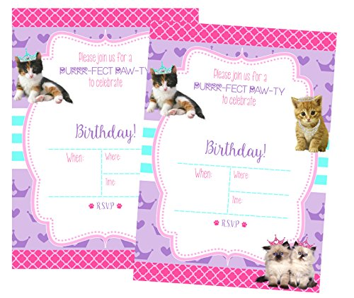 Silly Goose Gifts Glam Kitty Cat Pet Adoption Party Supply Theme (Invitations) by Silly Goose Gifts