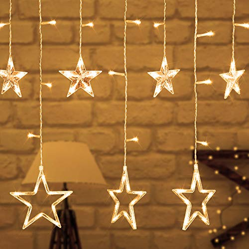 KOMAKE Curtain String Lights, 8.2ft 12 Stars 138 LED Window Curtain Lights Warm White Fairy Star Lights with 8 Flashing Modes Indoor Outdoor Decorative Lights for Christmas Wedding Party Home Garden