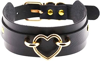 Daimay Heart Choker Necklace PU Leather Goth Choker Collar with Heart Punk Rock Collar Adjustable Size Black