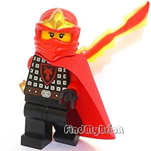 C123 Lego LOOSE Female Ninja CUSTOM Minifigure with Cape & Legendary Blade of Fire Sword (New Lego Sold Loose as Image Show)