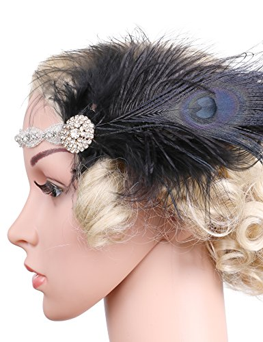 Gatsby Diy Costume (Flapper Girl Flapper Feather Headband 1920s Headpiece Vintage Hair Accessories Crystal Costume)