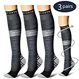 Compression Socks,(3 Pairs) Compression Sock Women & Men - Best Running, Athletic Sports