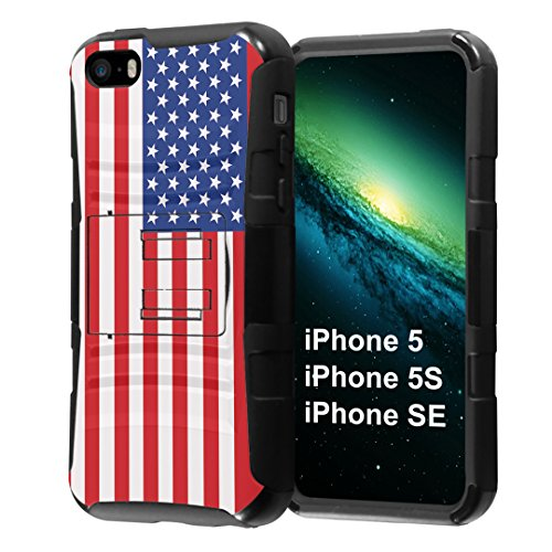 iPhone SE Case, Capsule-Case Hybrid Dual Layer Combat Full Armor Style Kickstand Case with Holster Combo (Black) for iPhone SE/iPhone 5s / iPhone 5 - (USA Flag)