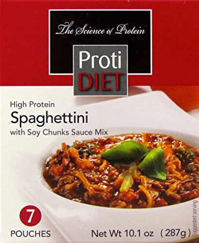 ProtiDiet Spaghettini with Soy Chunks Sauce Mix (7 pouches of 1.446 oz, net 10.1 oz) - High Protein Meal Replacement Spaghettini - Low Carb Breakfast by Protidiet
