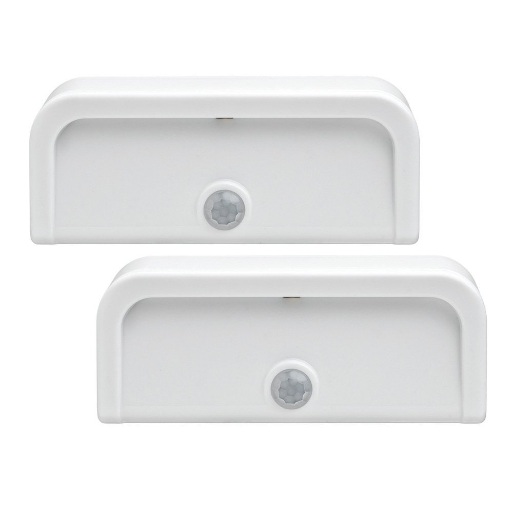 Mr. Beams MB702 Wireless Motion-Sensing Mini Stick-Anywhere LED Nightlights, Small, White, 2-Pack