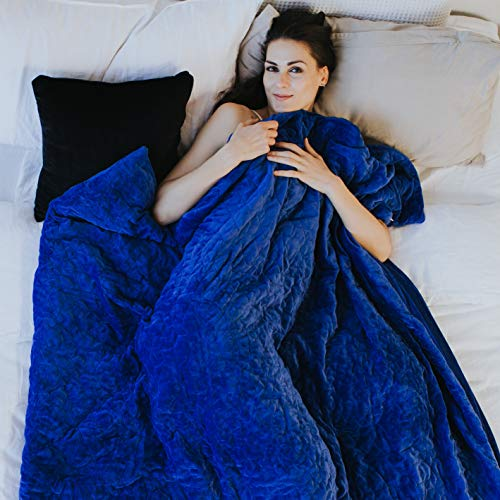 "Blanket Mink Royal - LACORDE Royale Weighted Therapy Blanket with Duvet Cover, Queen 60"" x 80"" 15lbs - Silky Soft, Quilted Sensory Blankets Adult – Cotton Sensory Comforter for Stress, Insomnia, Anxiety, Ultramarine Blue"