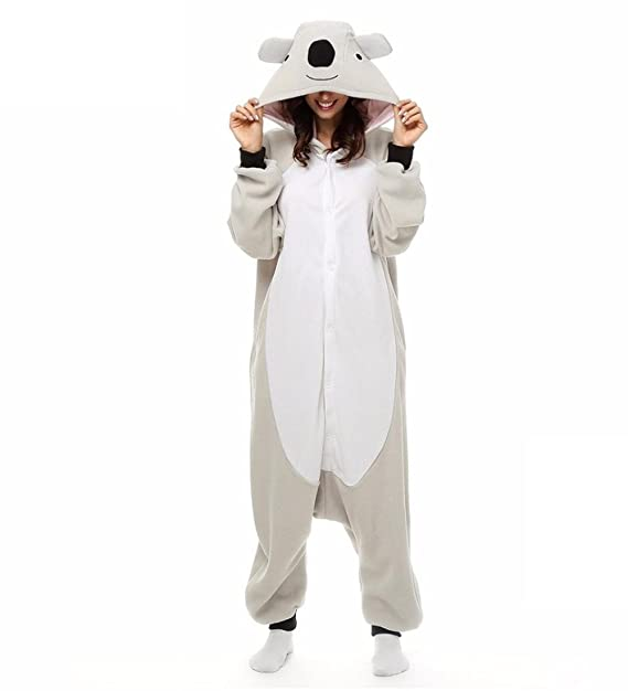 WRH Kigurumi Pijamas Koala Leotard/Onesie Festival/Holiday Animal Pijamas Halloween Grey Remiendo Polar