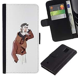 All Phone Most Case / Oferta Especial Cáscara Funda de cuero Monedero Cubierta de proteccion Caso / Wallet Case for Samsung Galaxy Note 4 IV // Man Friendly Portrait Art Hat Painting
