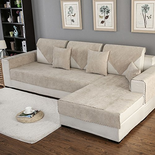 HM&DX Waterproof Sofa Cover for Pets Dog Sectional Couch Anti-Slip Water Resistant Stain Resistant Multi-Size Sofa Cover Slipcover Furniture Protector -Sold by Piece-Beige ()