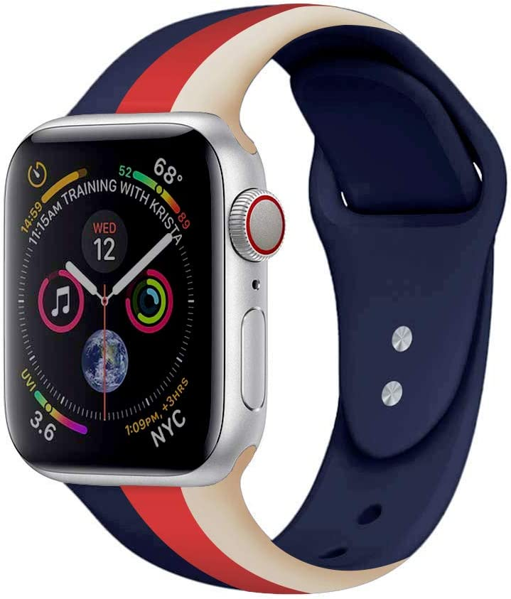 iDream365 Band Compatible with Apple Watch 38mm 40mm,Soft Silicone Fadeless Pattern Printed Replacement Floral Bands for iWatch Series 4,3,2,5,Sport Edition Women Men-Stripe Beige, Red, Dark Blue