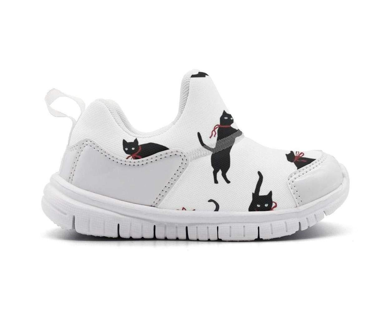 ONEYUAN Children Funny Cat Kitty Head Pictures Black Kid Casual Lightweight Sport Shoes Sneakers Running Shoes