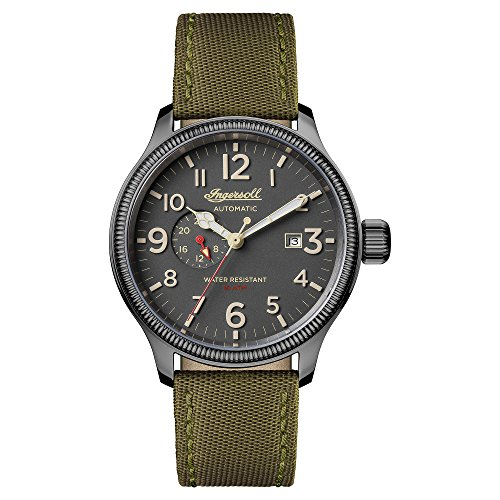 Ingersoll Men's Automatic Stainless Steel and Nylon Casual Watch, Color:Green (Model: I02802)