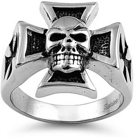 Mens Large Stainless Steel Biker Chopper Ring - Heavy Iron Cross with Skull