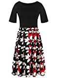 Oxiuly Womens Vintage Patchwork Pockets Puffy Swing Casual Party Dress OX165