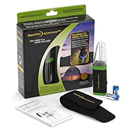 SteriPen Adventurer Opti Water Purifier 34 Compact handheld ultraviolet light (UV) water purifier designed specifically for outdoor/expedition use. -Reusable for up to 8,000 liters. Destroys over 99.9% of harmful bacteria, viruses and protozoa, like Giardia and Cryptosporidium. -Certified by the Water Quality Association. Fast, safe, effective and chemical-free. Doesn't alter taste, pH, or other water properties.
