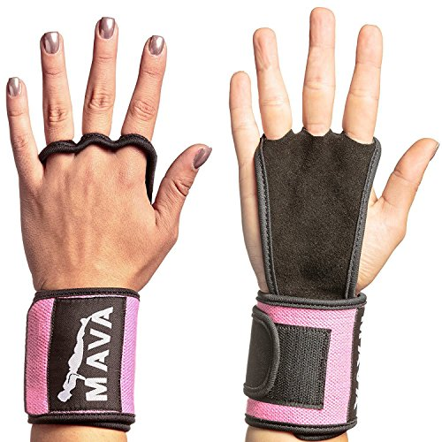 Mava Sports Hand Grips with Wrist Support Wraps for WODs Pull Ups Lifting Kettlebell Exercise Gym Workouts Training Callus Guards And Palm Protectors