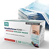Dre Health 3 Ply Disposable Face Masks, 50 Count - Made in The USA - Ear Loop Face Shields - Helps Filter Dust, Pollen…