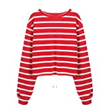 Sannysis Womens Stripe Long Sleeve Bandage Casual Sweatshirt Jumper Pullover Top Blouse, Red XL