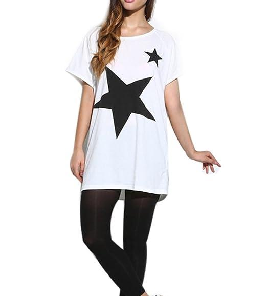 Camiseta Mujer Estampada Estrella Manga Corta Blusa de Verano Camisa Manga Murcielago Cuello Redondo T-