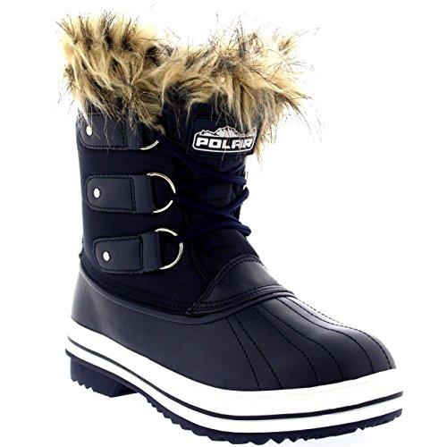 Mujer Manguito De Piel Cordones Caucho Corto Nieve Lluvia Zapato Botas Marina Nylon