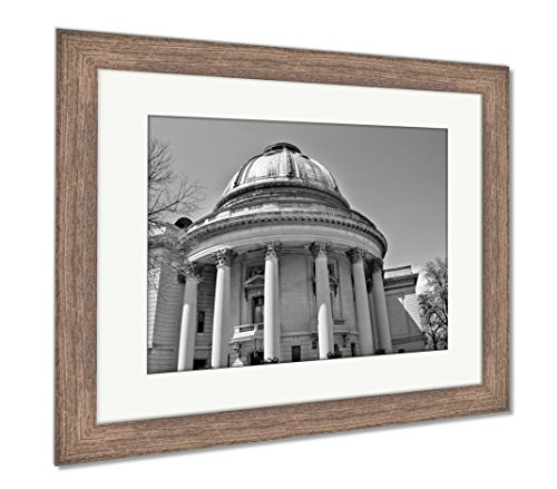 Ashley Framed Prints Yale University Woolsey Hall School of Music Building Dome, Wall Art Home Decoration, Black/White, 34x40 (Frame Size), Rustic Barn Wood Frame, AG6000910