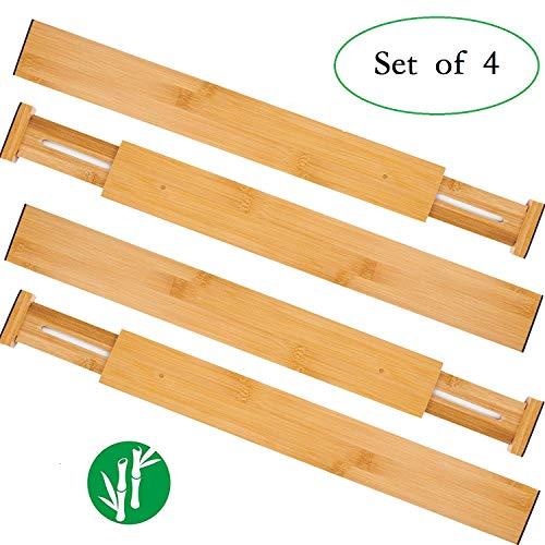 Oberhoffe Adjustable Expandable Dividers Bamboo Drawer Divider Drawer Organizers 100% Natural Bamboo Best for Kitchen, Dresser, Bedroom, Bathroom,Desk- Set of 4