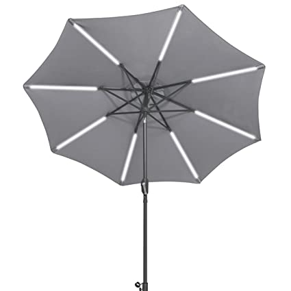 TANGKULA 9ft Patio Umbrella Outdoor Tilt Umbrella Lawn Garden Balcony Sunshade Tent Rain Shelter Patio Furniture with Solar Led Light(Grey)