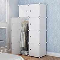 MAGINELS Magicial Panels Wardrobe Portable Closet Organizer Clothes Armoire Cube Storage Dresser for Bedroom, Large & Study, White, 5 Cubes & 1 Hanging Section