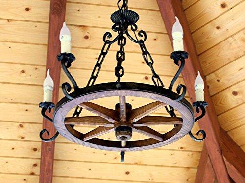Rueda de madera – Lámpara de techo Rueda de carro Carruaje lámpara de techo antiguo Deko