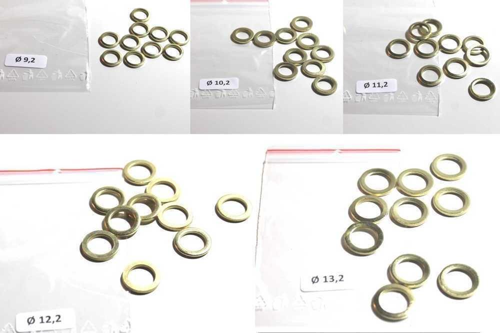 Set de 50/fitsche anillos por 10/x /Ø 9,2///Ø 10,2///Ø 11,2///Ø 12,2//di/ámetro 13,2/mm surtido de arandelas Acero Lat/ón Puerta Bisagra