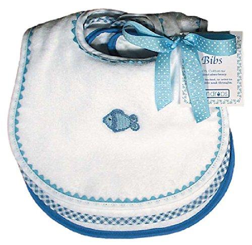 - Raindrops Pastel Teething Bib Set, White/Blue
