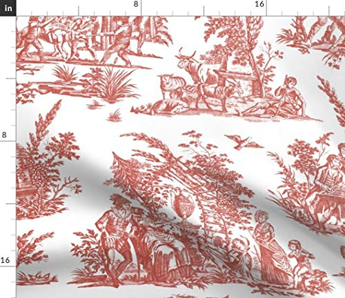 Spoonflower Toile Fabric - Toile French Romantic Turkey Red Red White Pastoral Print on Fabric by The Yard - Linen Cotton Canvas for Sewing Home Decor Table Linens Apparel Bags