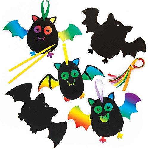 Halloween Bat Arts Crafts (Baker Ross Halloween Bat Scratch-Off Art Magnets | Magic Scratch Wand | Magnet for Displaying Kids Vibrant Creations | Craft Project Pack of)