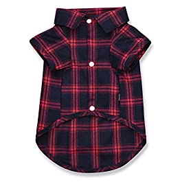 Koneseve Dog Shirt, Pet Plaid Polo Clothes Shirt Cat T-Shirt, Sweater Matching Breathable for Small Medium Large Dogs Cats Puppy Soft Adorable Casual Cozy Halloween Thanksgiving Christmas Costumes