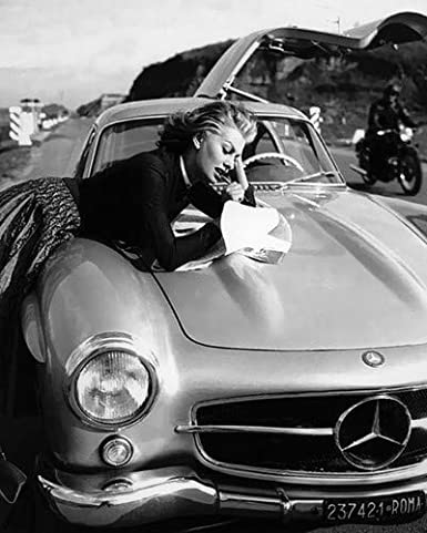 Sophia Loren Iconic Pose on highway with Mercedes 300SL Vintage car 11x14  HD Aluminum Wall Art at Amazon s Entertainment Collectibles Store fa2cf448f2