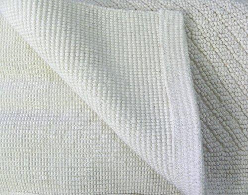 Baumwollteppich weiß  Natur Wolle Teppich 100% Baumwollteppich, beige Webteppich 70x140 ...