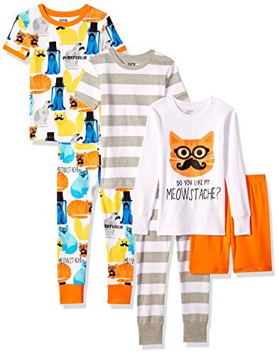 Amazon Brand - Spotted Zebra Big Kids' 6-Piece Snug-Fit Cotton Pajama Set, Meowstache, X-Large (12)