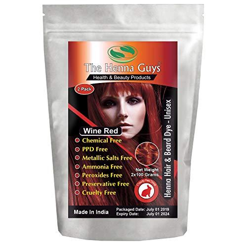 Wine Red Henna Hair & Beard Dye/Color - 2 Pack - The Henna Guys