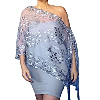 92740373ef89b Plus Size Silver Sequin Wrap Grey Wedding Shawl Mother Of The Bride Stole  By ZiiCi