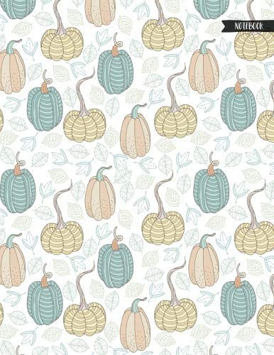 Patterned Pumpkin - Notebook: Patterned Pumpkins And Doodle Leaves Autumn Journal for Girls and Women - 8.5x11 Large Lined Diary for Writing Journaling School or Work