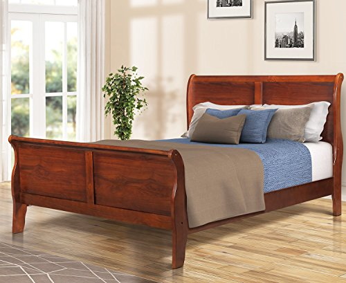 Harper&Bright Designs Wood Platform Bed Queen Size Bed Box Spring Needed Cherry (Cherry Finish Queen Bed)
