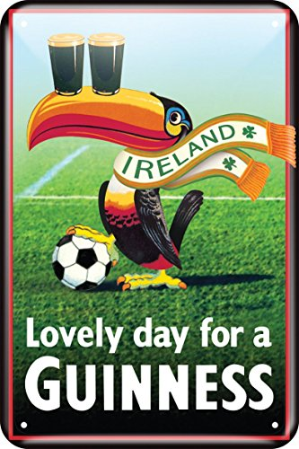 Guinness Metal Sign With Iconic Toucan With Football Design (20Cm X 30Cm) -