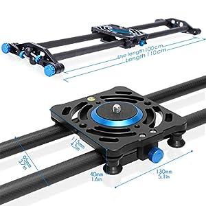 Selens 40 inch 100cm Carbon Fiber Dslr Camera Slider Rail Track Dolly Video Stabilization
