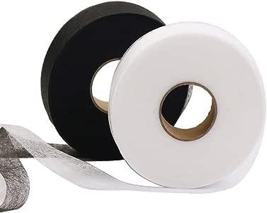 Rolin Roly 70 Yardas 2 Rollos Cinta Termoadhesiva Dobladillo Planchar Cinta Adhesiva Coser Fusible Fusión Tela Negro Blanco Cinta de Fusión para Ropa: Amazon.es: Hogar