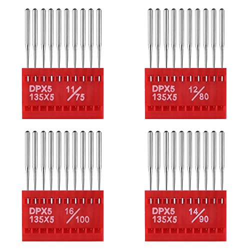 BBTO 40 Pieces Round Head Machine Needles Assorted with Plas