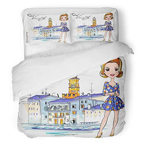 Semtomn Decor Duvet Cover Set King Size Cute Fashionale Girl in Flowered Dress Verona Italy Adige 3 Piece Brushed Microfiber Fabric Print Bedding Set Cover