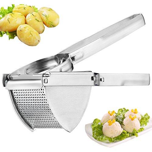 Stainless Steel Potato Ricer Masher - Premium Manual Mashed Potato Maker Fruit Masher - Hand Press Potato Masher Lemon Lime Squeezer Baby Food Strainer for Cooked Carrot, Citrus, Orange