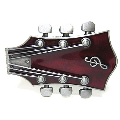 MASOP Music Instrument Guitar Red Belt Buckle Head (Cool Belt Buckle Funny)